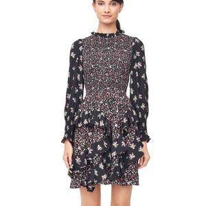 Rebecca Taylor Silk Smocked Floral Dress